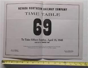 Nevada Northern Railroad Employee Timetable #69