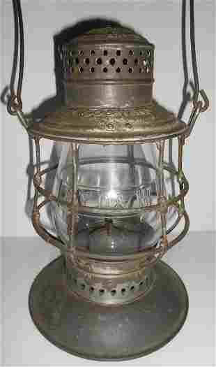 NYO&W Railway Bellbottom Lantern Cast Globe