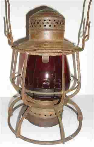Long Island Railroad Lantern - Red Cast globe