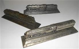 3 Metal Steam Locomotive Paperweights