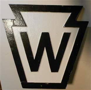 Pennsylvania Railroad Cast Iron Whistle Sign