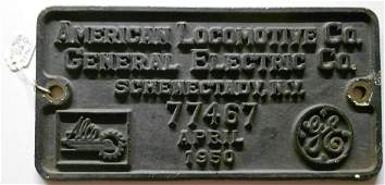 Alco Builder's Plate NYC S-2 Serial #77467
