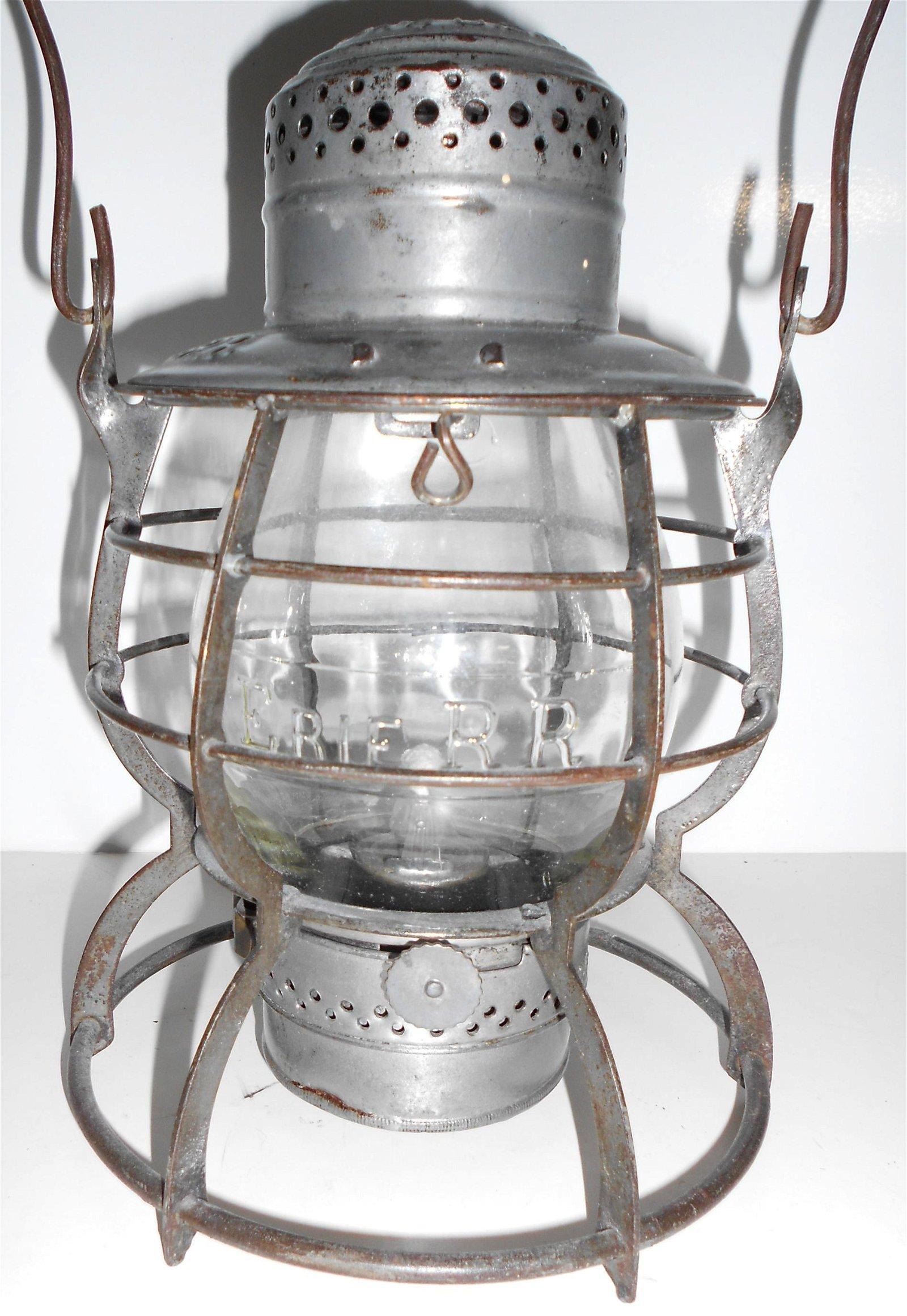 Erie Railroad Steel Clad Lantern Cast Globe