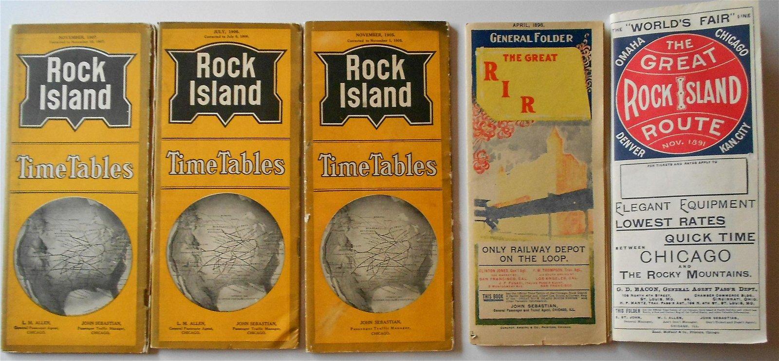 Rock Island Railroad Public Timetables 1891-1907