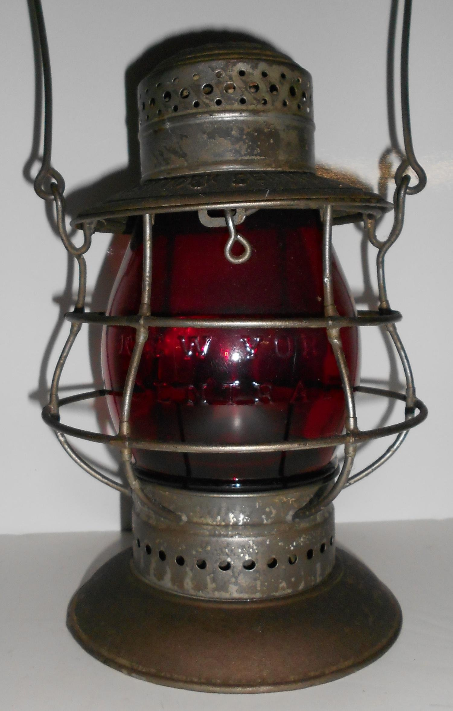 NYC Dietz #6 Bellbottom Lantern Red Cast Globe