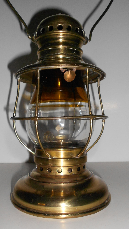 Adams & Westlake Brass Lantern Amber/Clear Globe