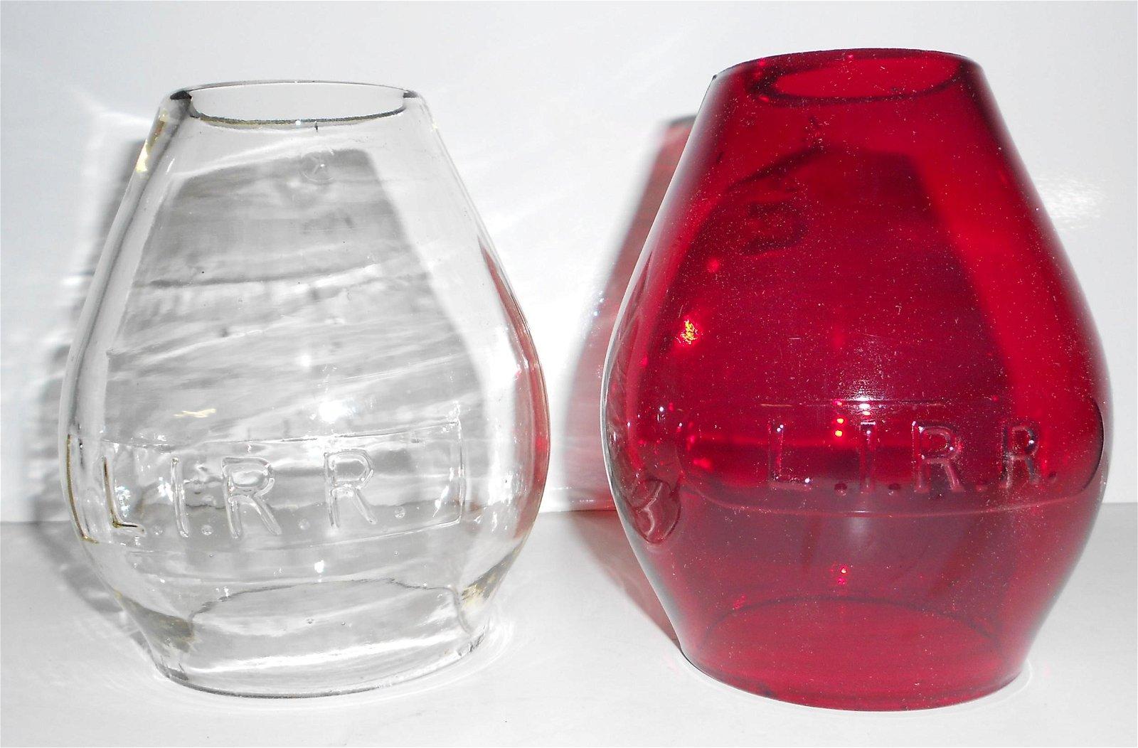 2 Long Island Railroad Lantern Globes Red & Clear