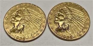 Two 1925 $2.50 Gold coins