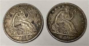 2 Seated Liberty Half Dollars