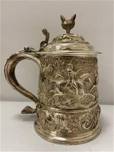 Important Queen Anne Silver Tankard, .985, w/whistle