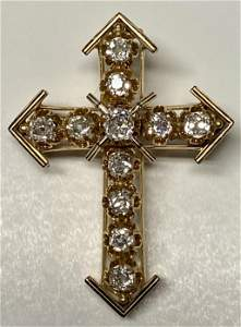 14k Cross Pin/Pendant w/11 Mine cut Diamonds