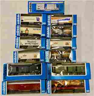 13 Marklin HO RR Cars, in boxes