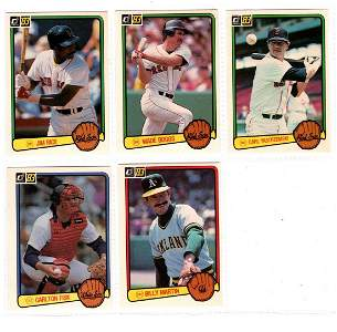 5 1983 Donruss baseball cards, Rice, W Boggs, Yaz, etc