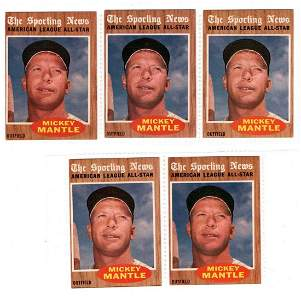 5 1962 Topps Baseball cards, Mickey Mantle