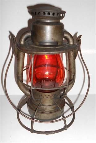 Reading Railroad Vesta Lantern Amber etched P&R