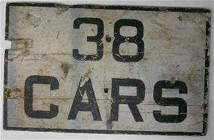 """38 Cars"" Wooden Railroad Sign - 24"" x 15"