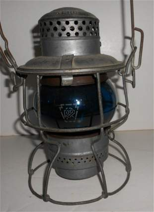 Pennsylvania Railroad Lantern Green Etched Globe
