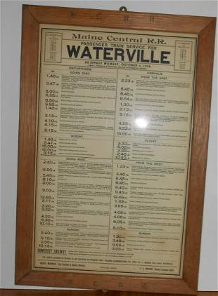 Maine Central Waterville Depot Timetable 1909