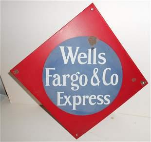 """Wells Fargo Co Porcelain Sign 12"""" sides"""