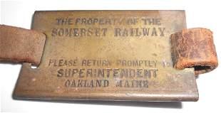 Somerset Railway Maine Brass Baggage Tag