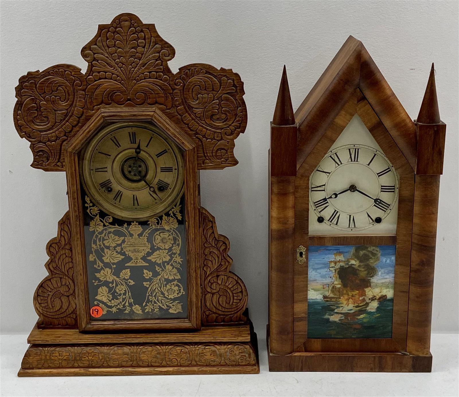 Pair of shelf Clocks, Steeple & Gingerbread