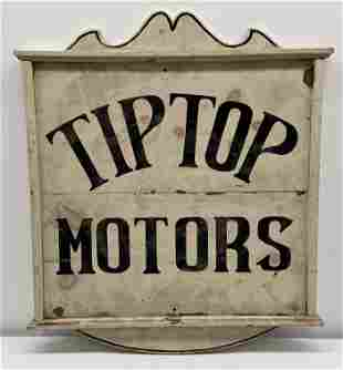 Wooden Tip Top Motors sign