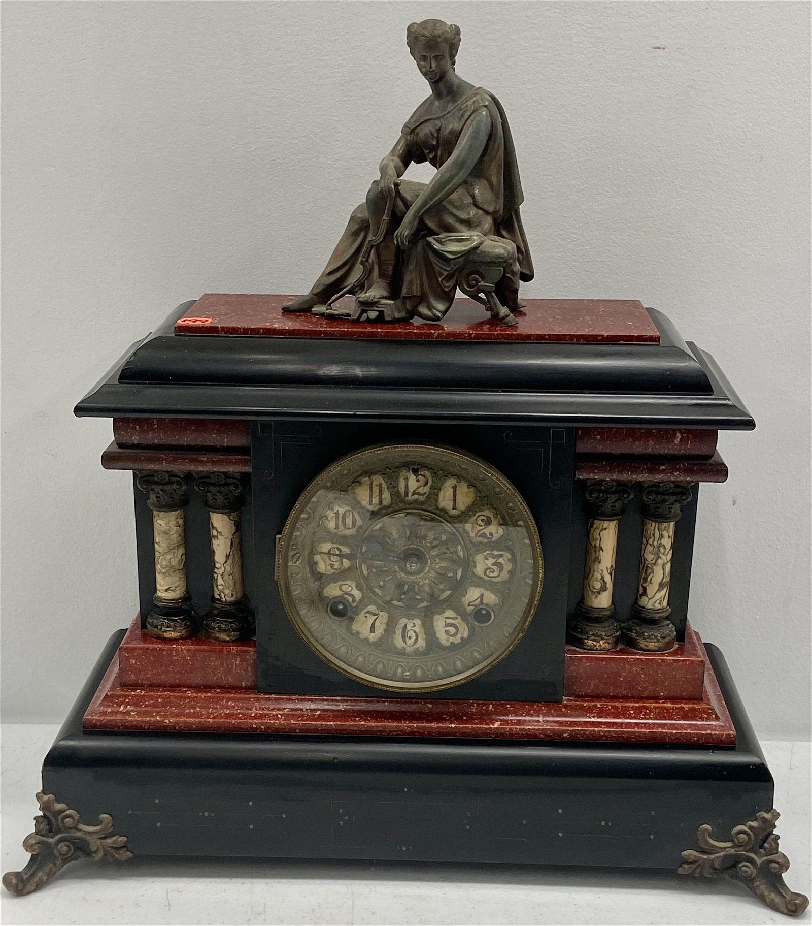 Seth Thomas Adamantine Mantle clock w/topper
