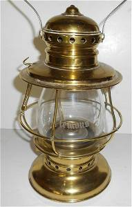 """A&W Brass Conductor Lantern with """"C Clemons"""" Cut"""