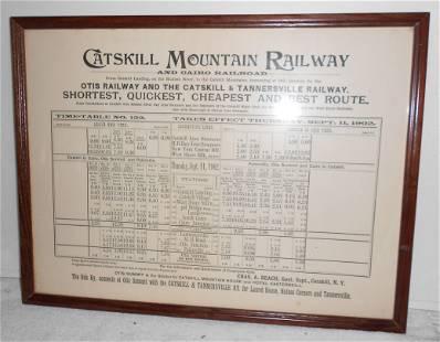 Framed Catskill Mountain Railroad Timetable 1902