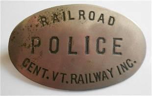 Central Vermont Railway Police Badge