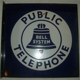 Porcelain Sign - Public Telephone Bell System