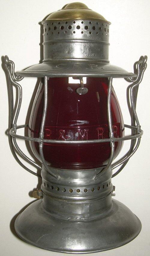 CRR Brasstop Bellbottom Lantern Red B&M Globe