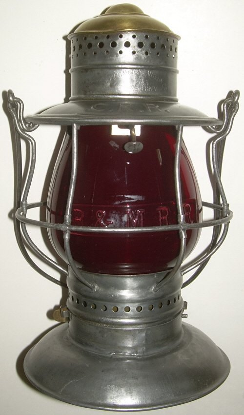 CRR Brasstop Bellbottom Lantern Red B&M Globe