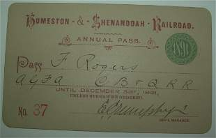 Humeston & Shenandoah Railroad – 1891 Annual Pass