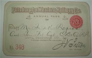 Pittsburgh & Western – 1891 Pass – Narrow Gauge