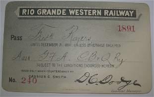 Rio Grande Western Railway - 1891 Annual Pass