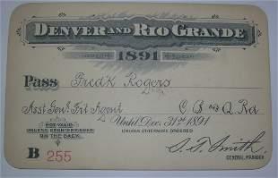 Denver & Rio Grande Railroad – 1891 Annual Pass