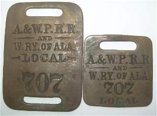 Baggage Tags: pair Atlanta & West Point / W RY Al