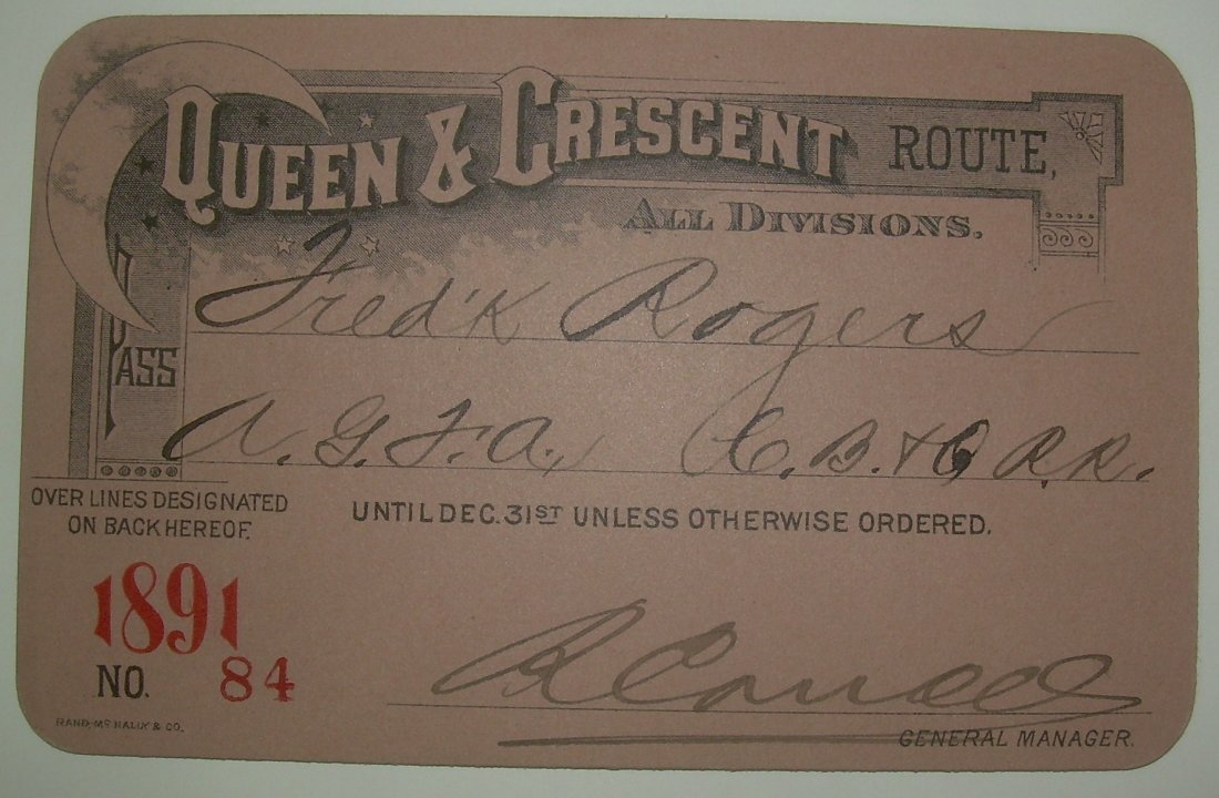Queen & Crescent Route – 1891 Annual Pass