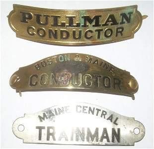 3 Hat Badges: Pullman, MEC, B&M