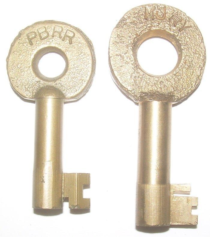 2 Brass Railroad Switch Keys - PB, MJ