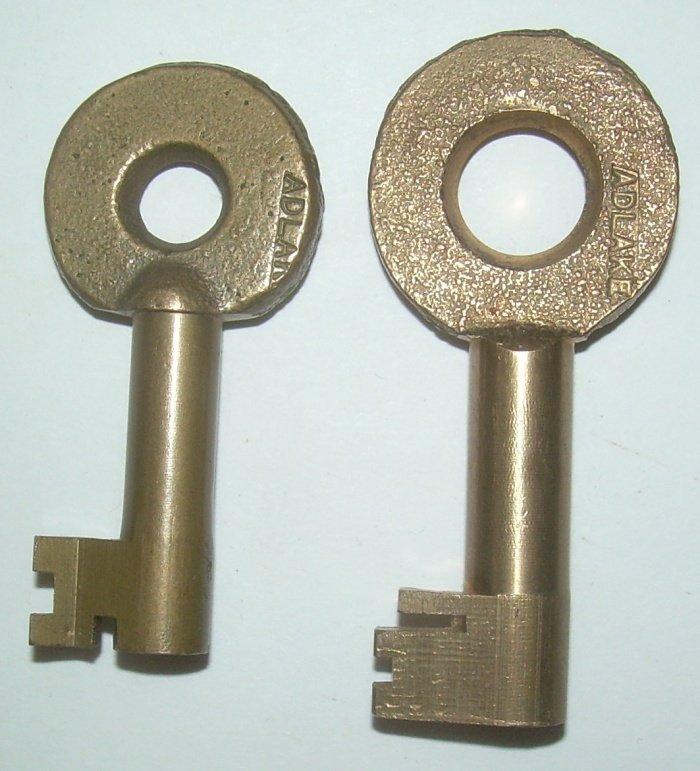 2 Brass Railroad Switch Keys - PB, MJ - 2