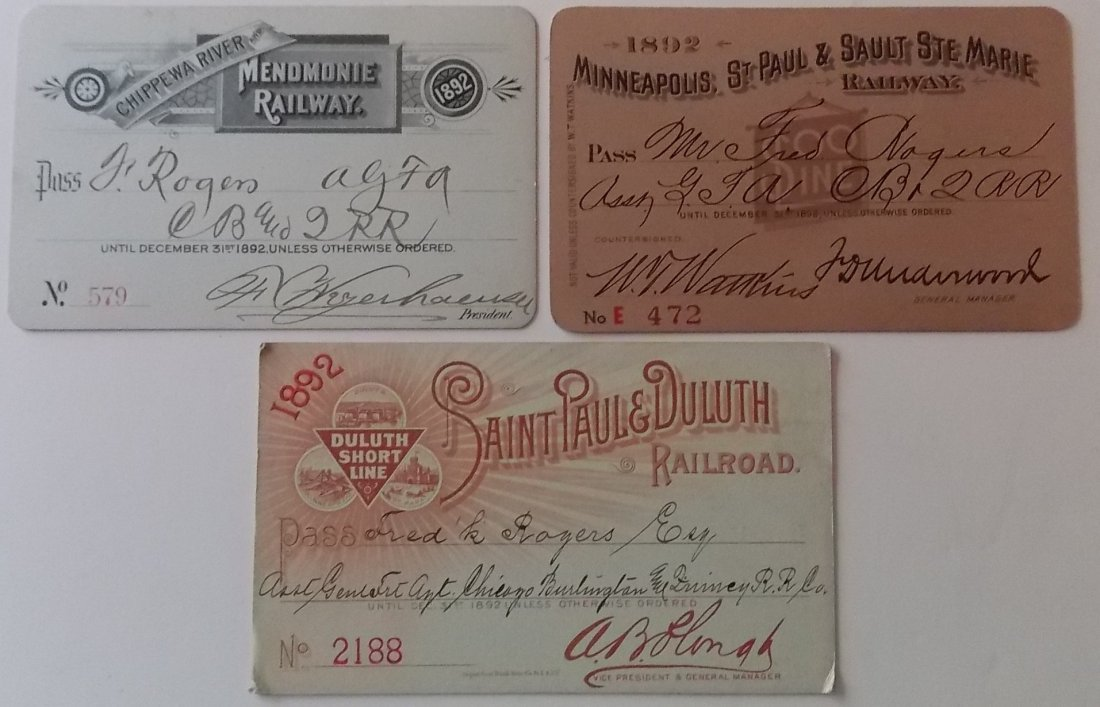 Railroad Annual Passes: Menomonie, Soo, Duluth