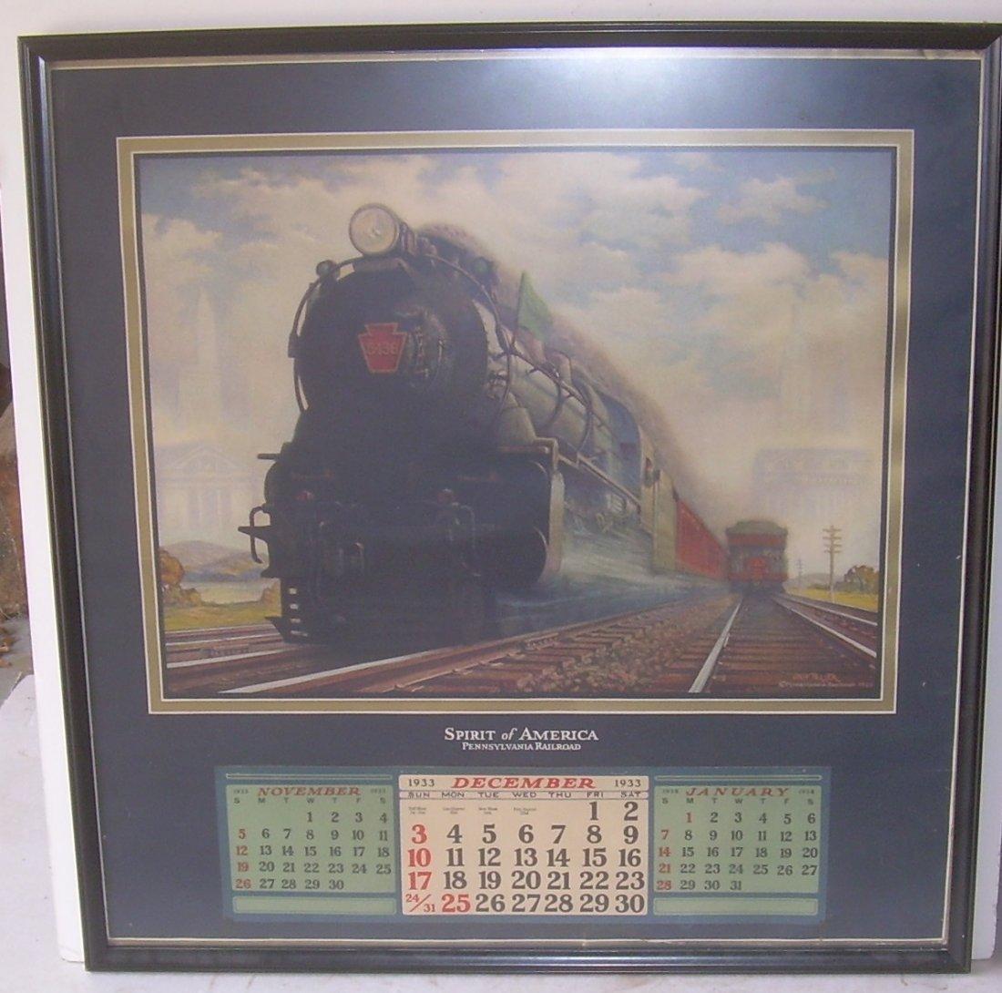 * Pennsylvania Railroad Calendar 1933 Framed