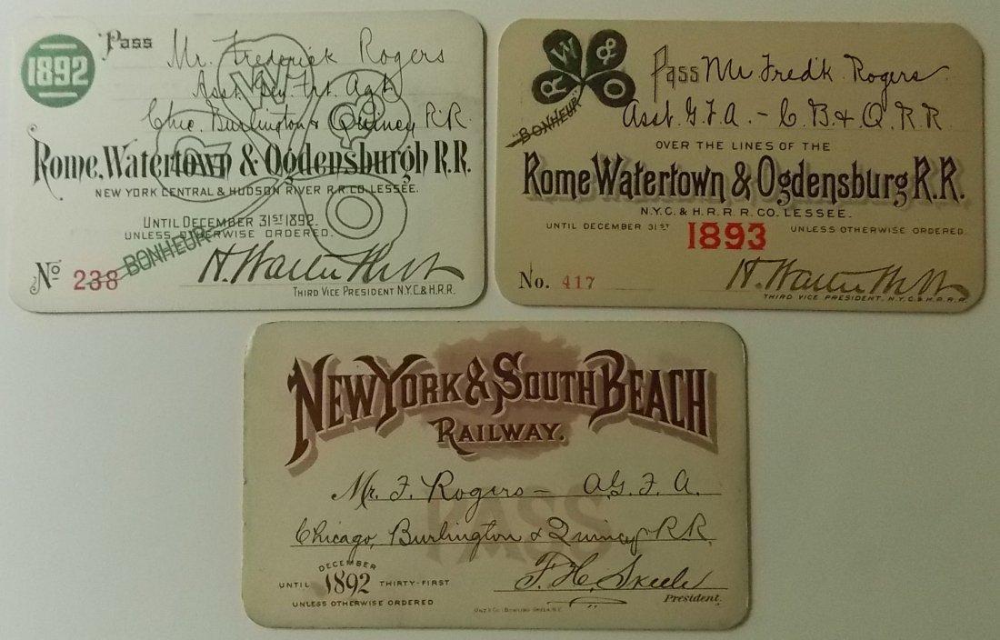 New York State Railroad Passes (3) RW&O South Beach