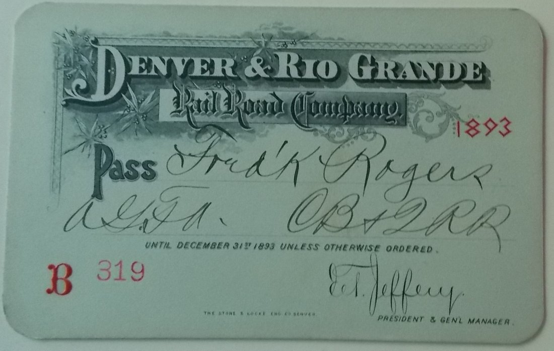 Denver & Rio Grande Railroad – 1893 Annual Pass