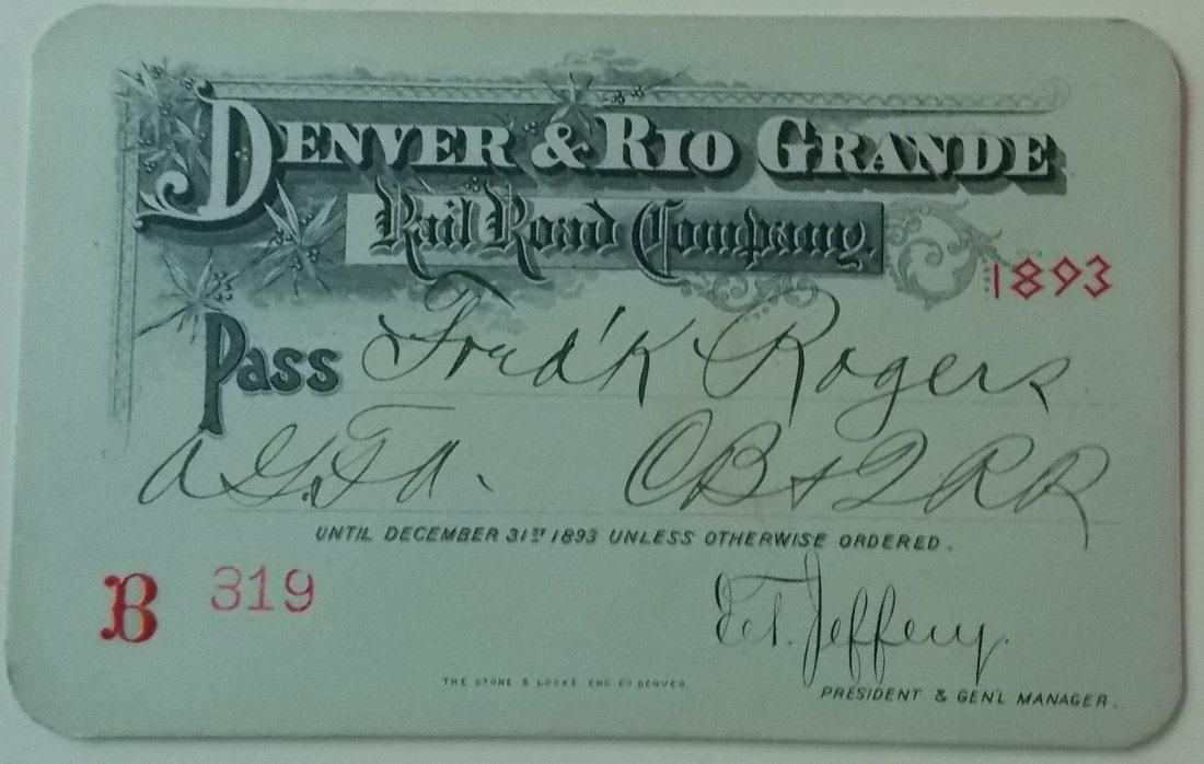 Denver & Rio Grande Railroad – 1893 Annual Pass