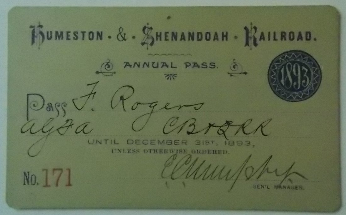Humeston & Shenandoah Railroad – 1893 Annual Pass