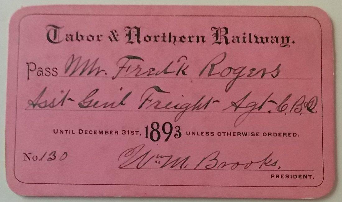 Tabor & Northern Railway – 1893 Annual Pass Iowa