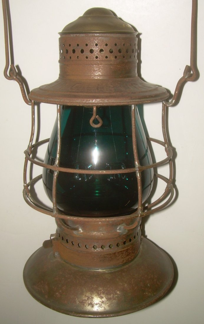 Fitchburg BTBB Railroad Lantern Green Cast Globe